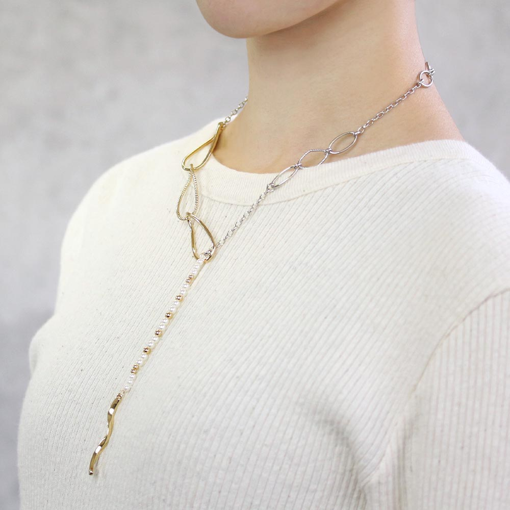 Asymmetrical Chain Lariat Necklace