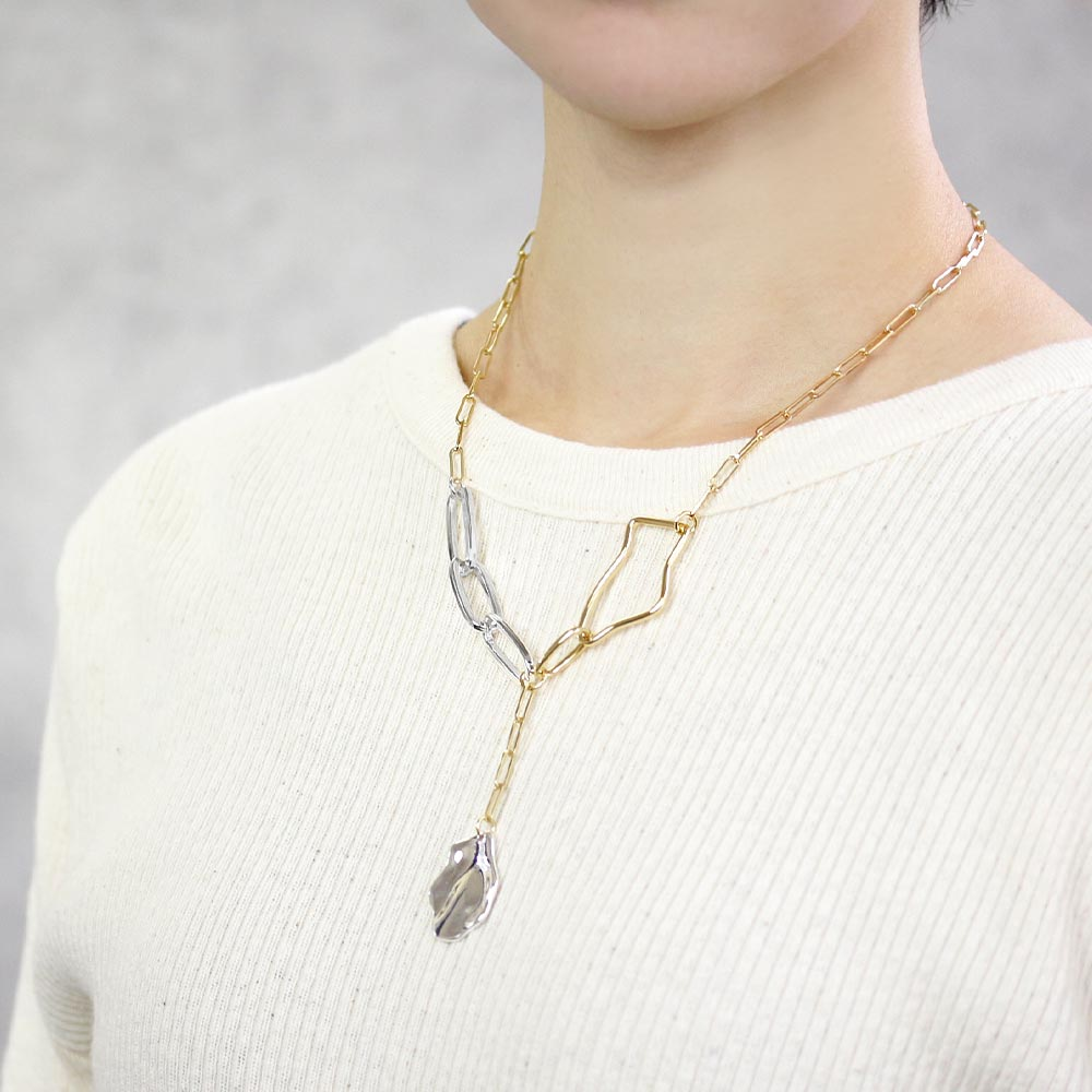Mixed Chain Two Tone Y-Necklace