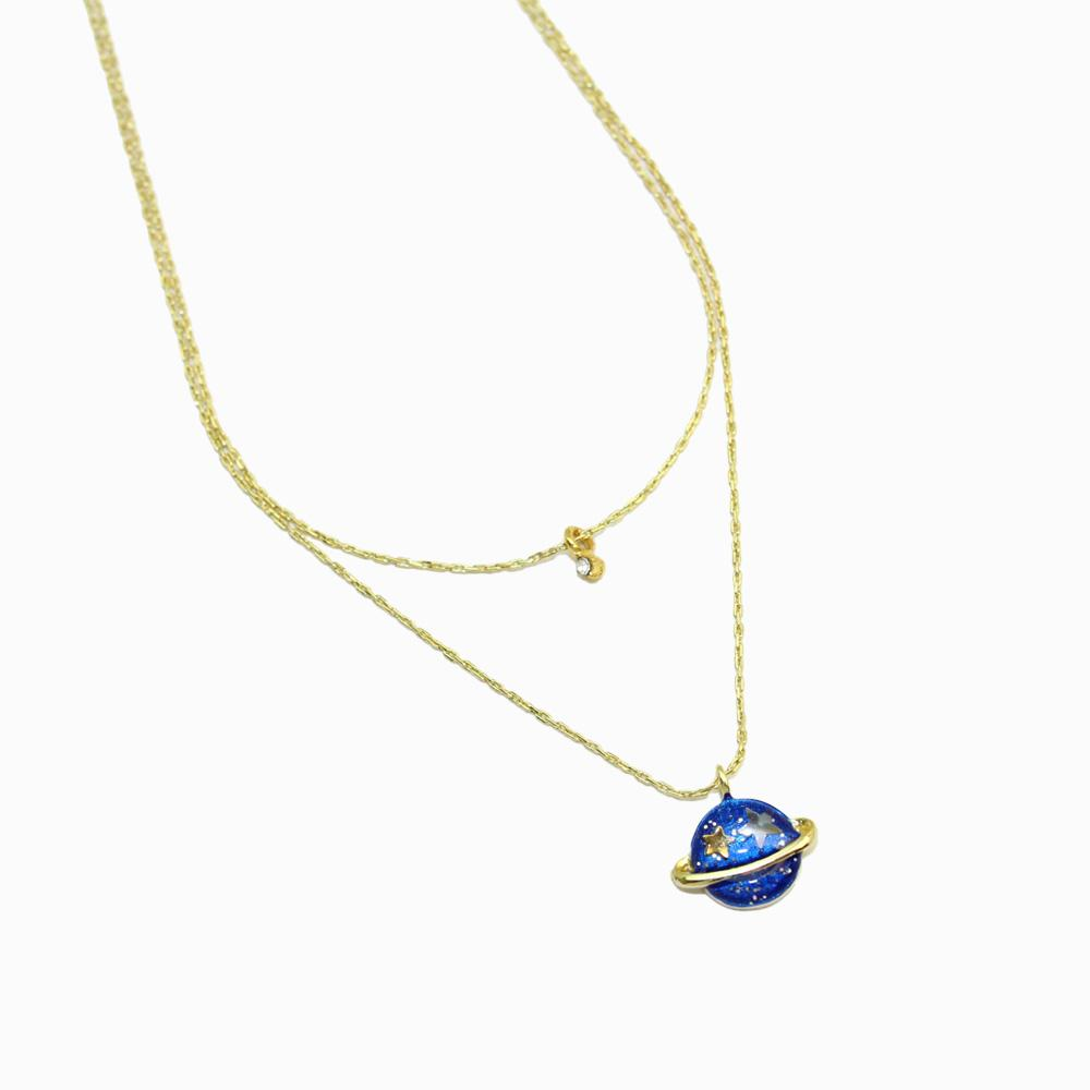 Small Planet Charm Double Chain Necklace - osewaya