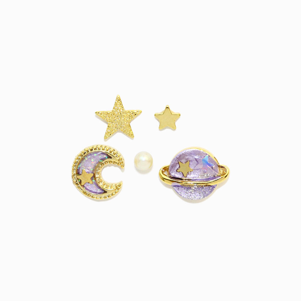 Saturn and Moon Galaxy Earring Set - osewaya