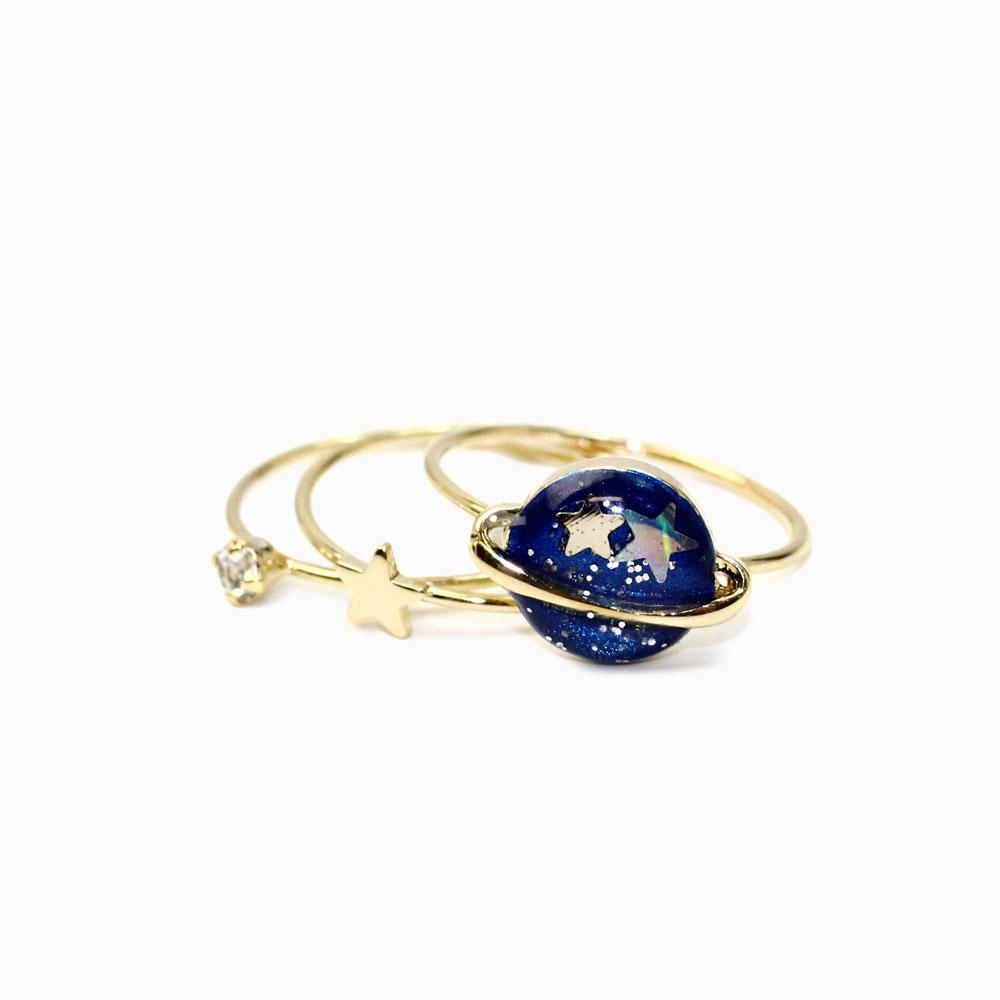 Blue Saturn Ring Set - osewaya