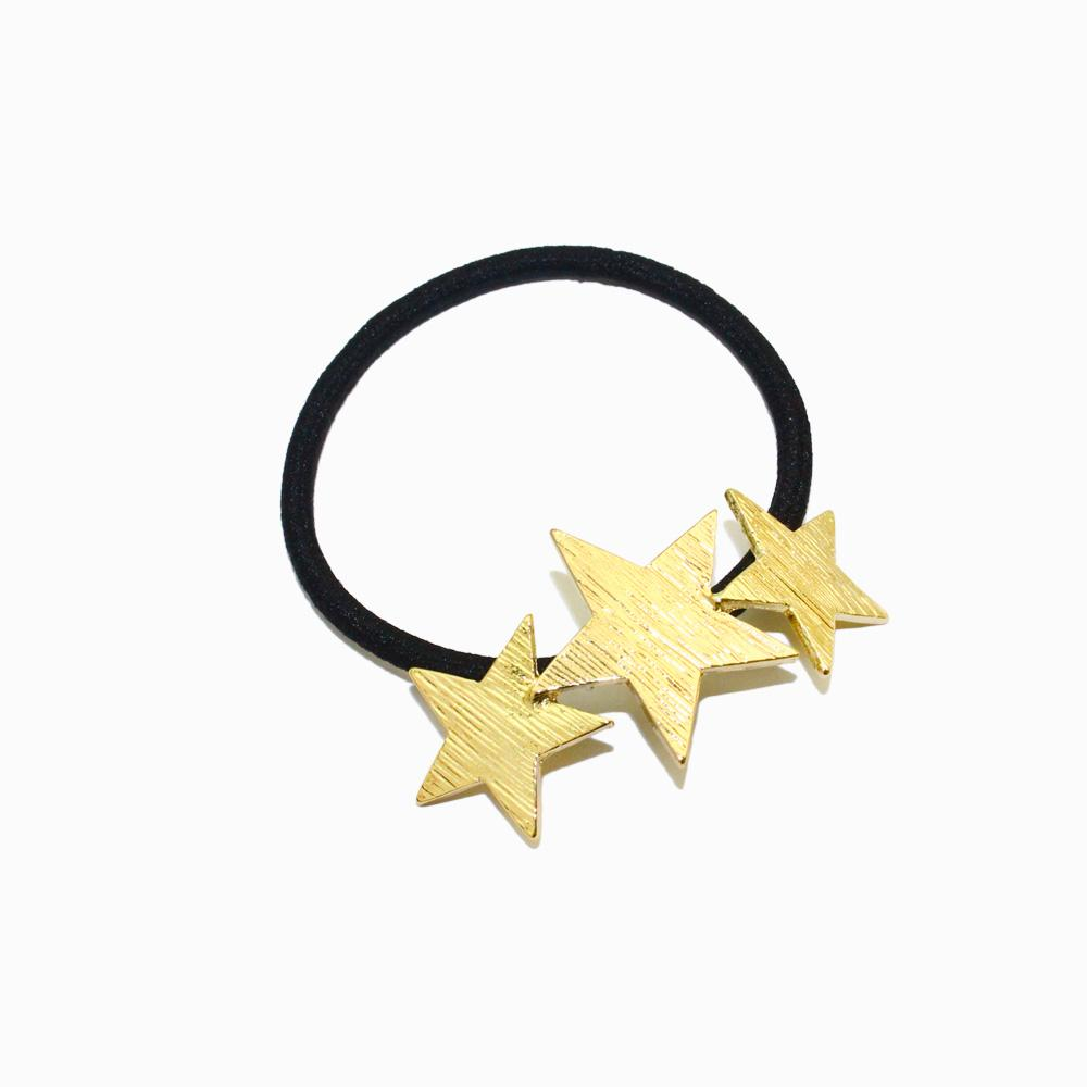 Metallic Stars Hair Tie Ponytail Holder - osewaya