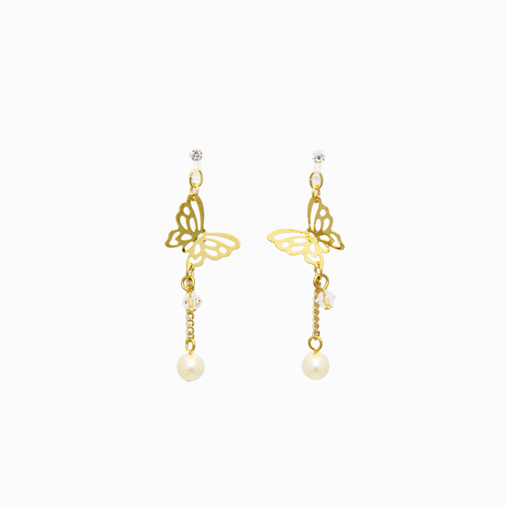 Butterfly and Drop Pearl Invisible Clip On Earrings - osewaya