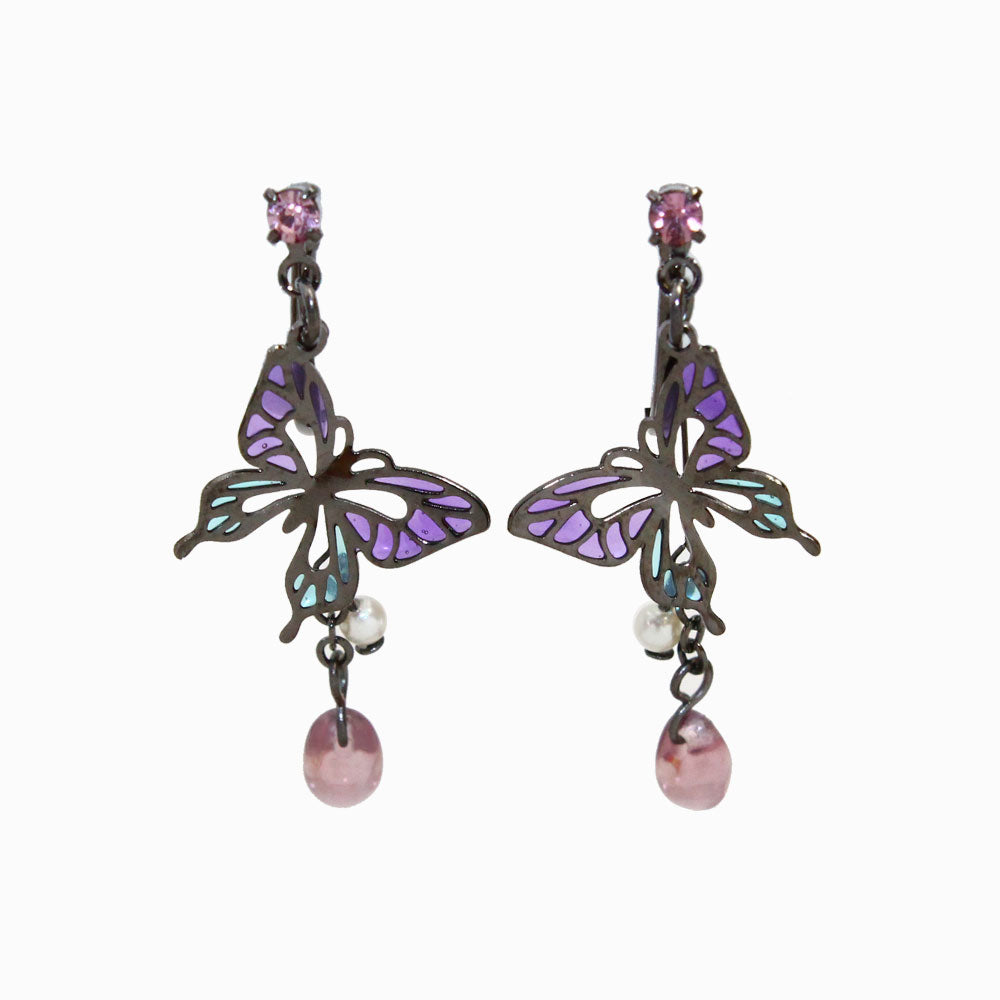 Butterfly and Tear Drop Clip On Earrings