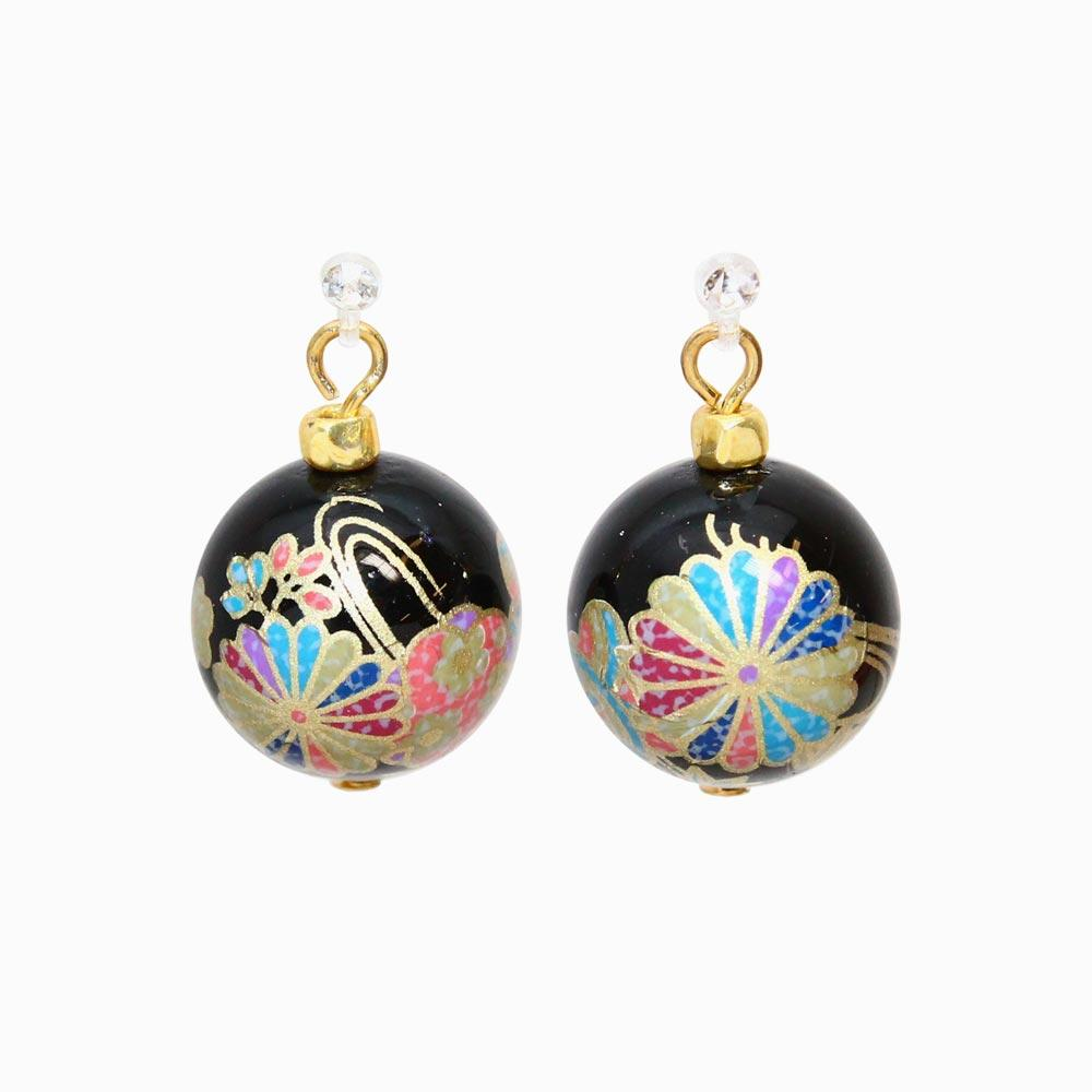 Japanese Pattern Beads Invisible Clip On Earrings - osewaya