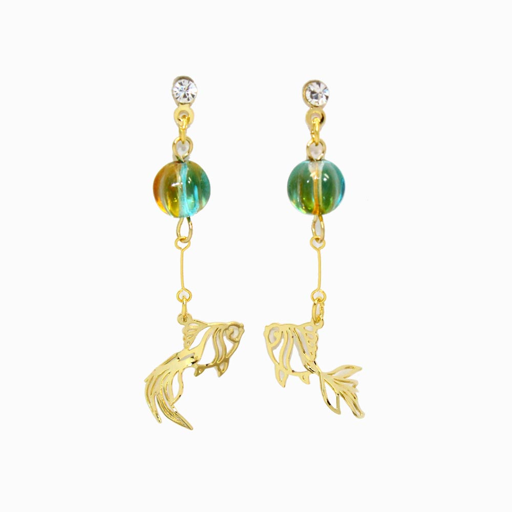 Goldfish and Glass Beads Japan Earrings - Osewaya