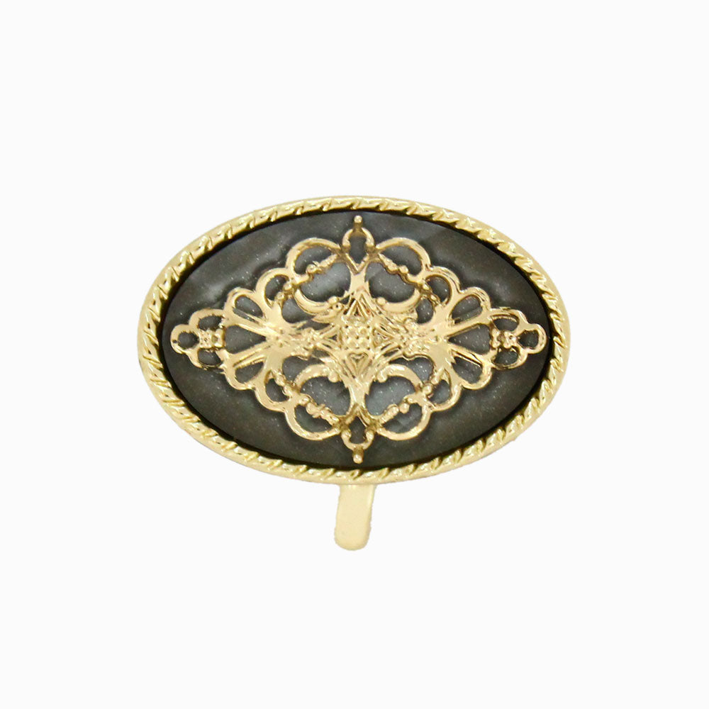 Metal Lace Detail Oval Hair Hook - Osewaya