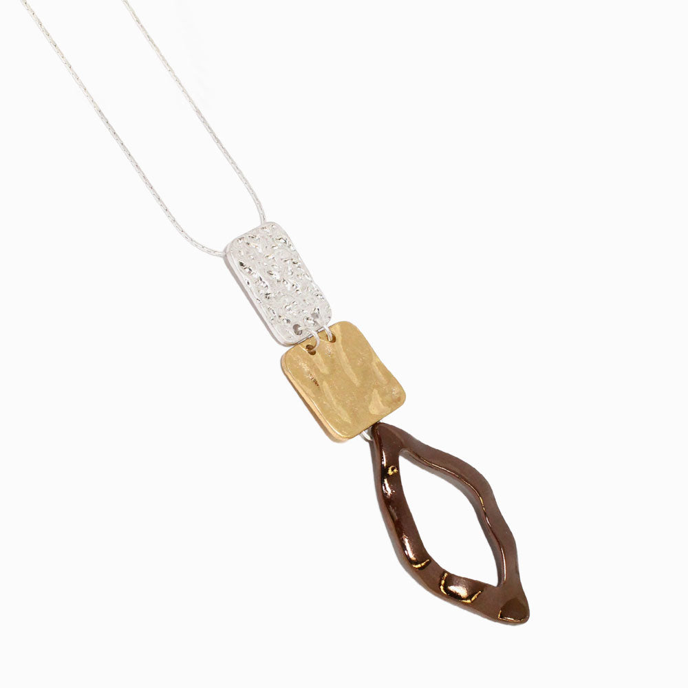 Chocolate Color Metal Mixed Charm Carre Long Chain Necklace - Osewaya