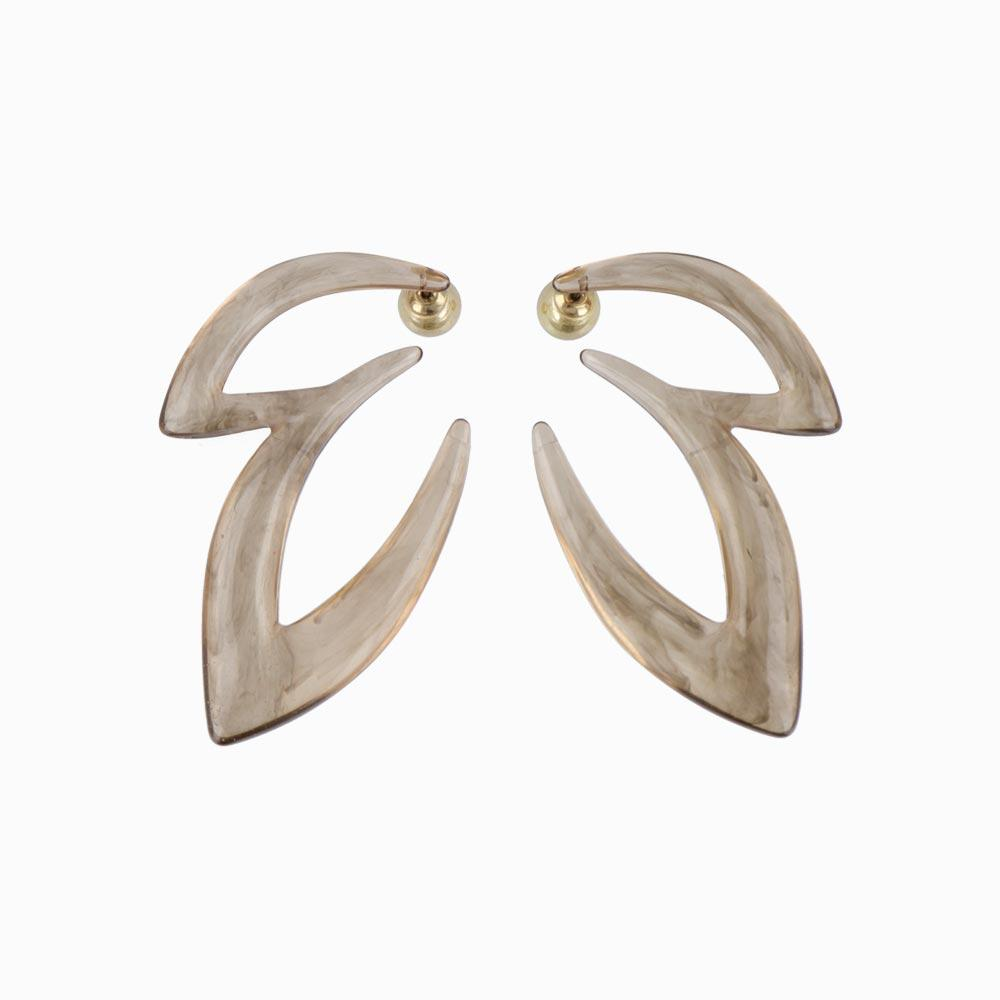 Smoked Translucent Big Ivy Front Back Earrings - osewaya