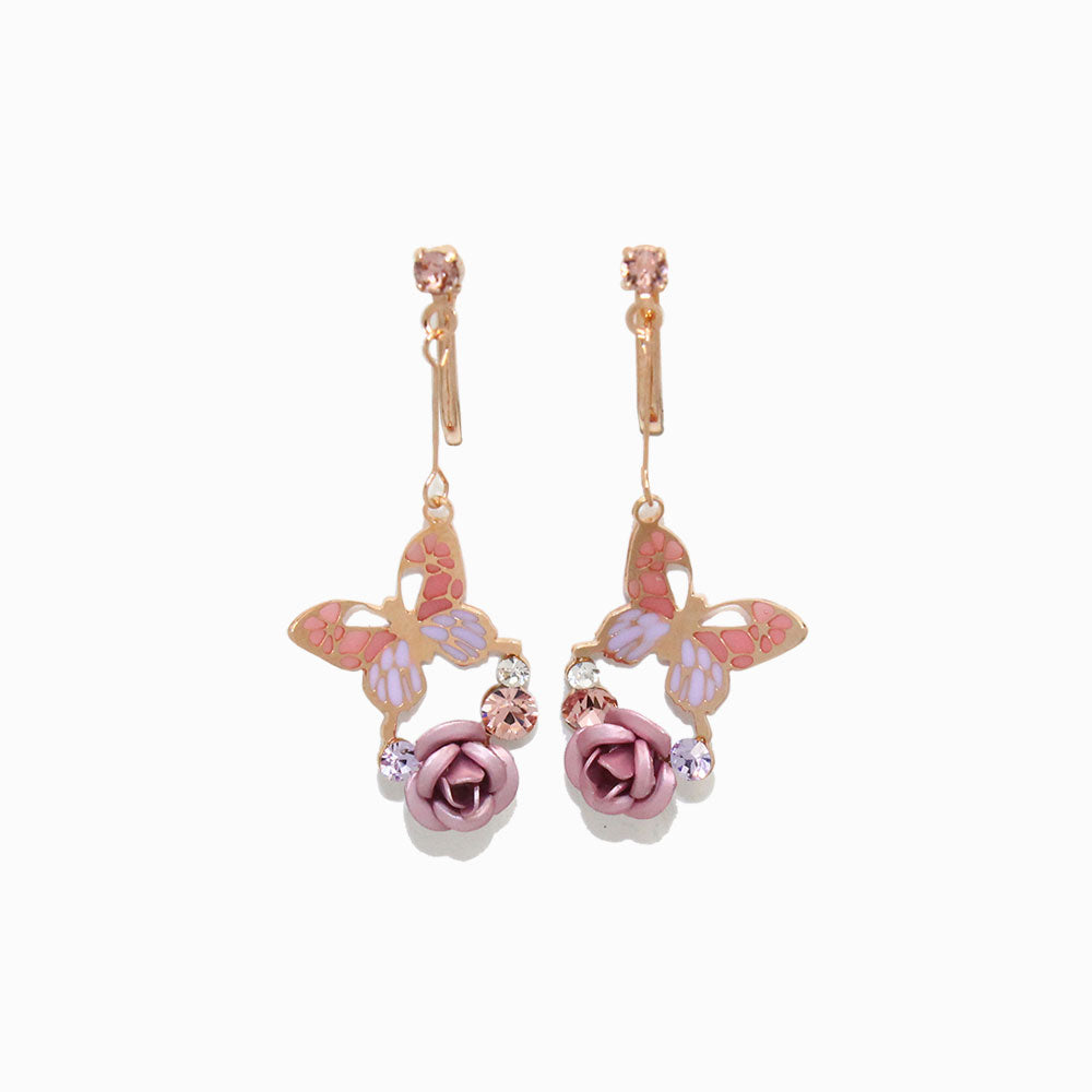 Drop Butterfly and Rose Clip On Earrings