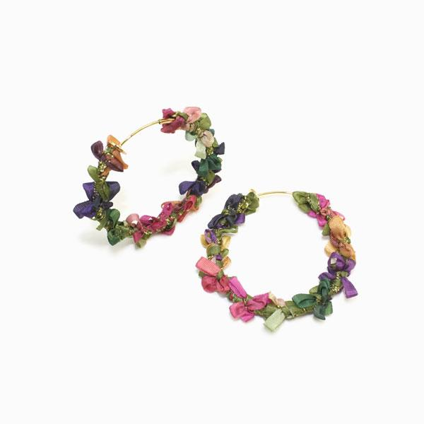 Ribbon Wreath Non Pierced Earrings - osewaya