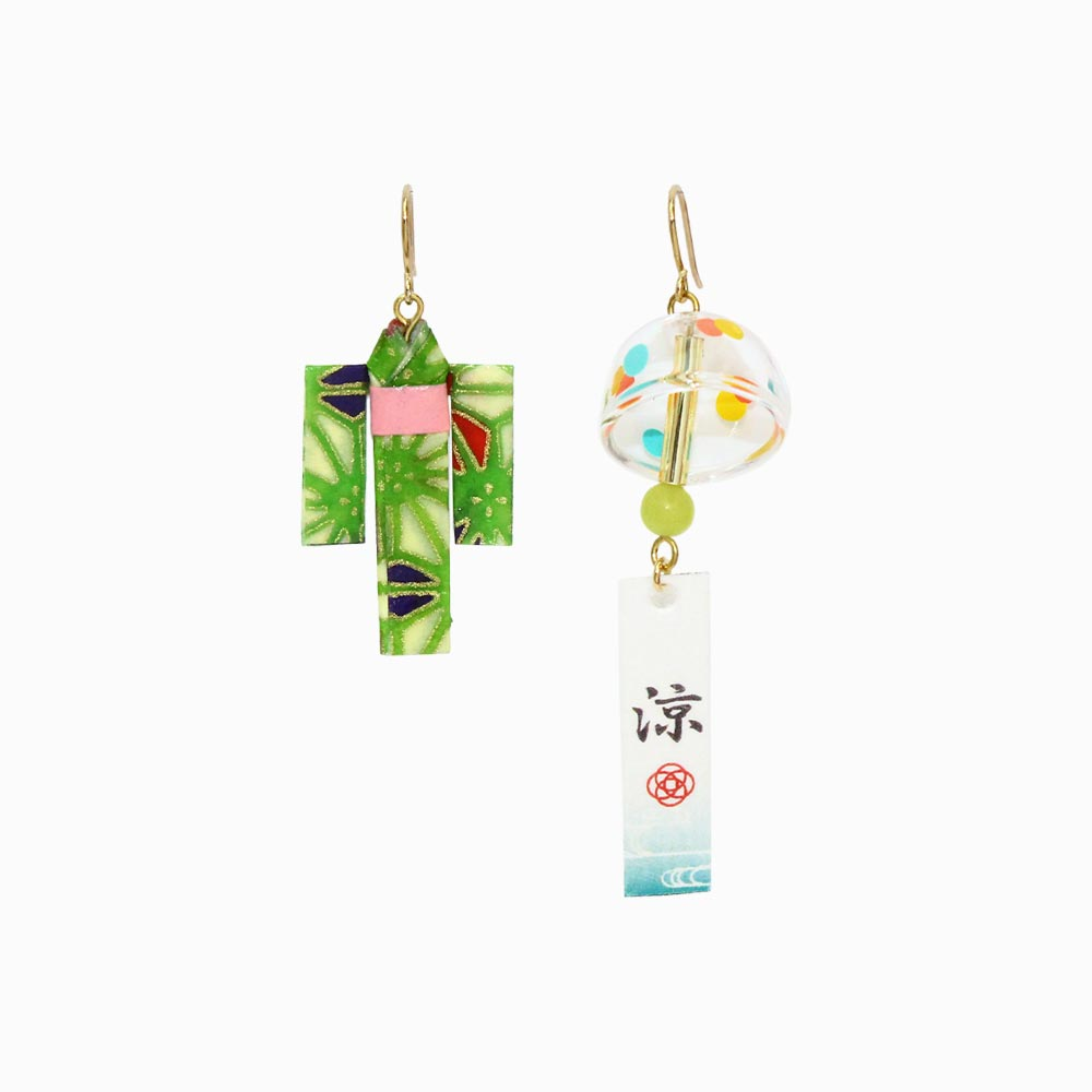 Japanese Wind Bell and Yukata Dress Earrings