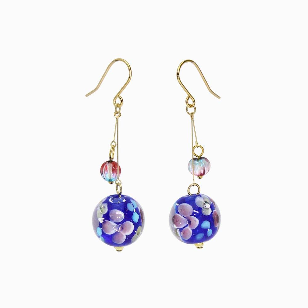 Japanese Traditional Glass Bead Earrings - osewaya