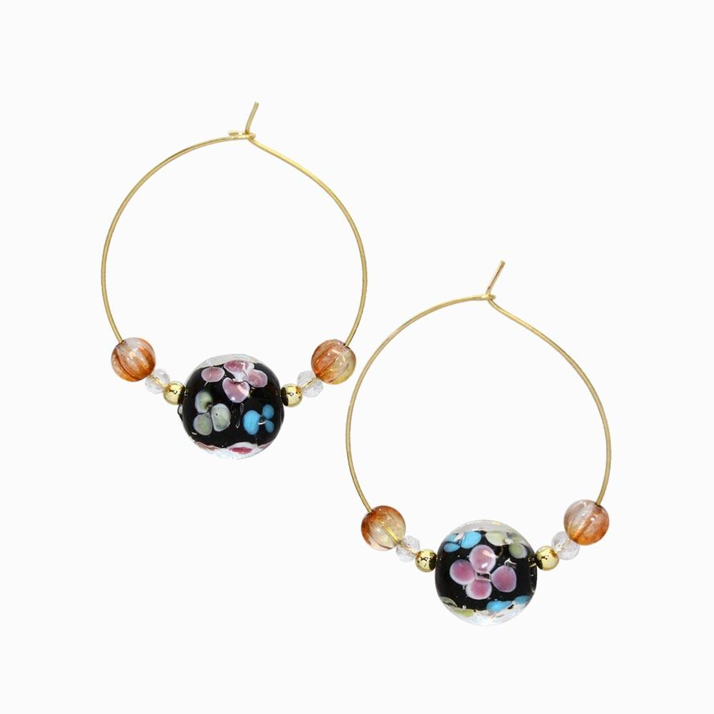 Japan Decoration Beaded Hoop Earrings - osewaya