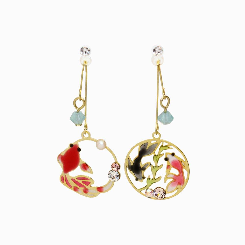 Openwork Goldfish Invisible Clip On Japanese Inspired Earrings - Osewaya