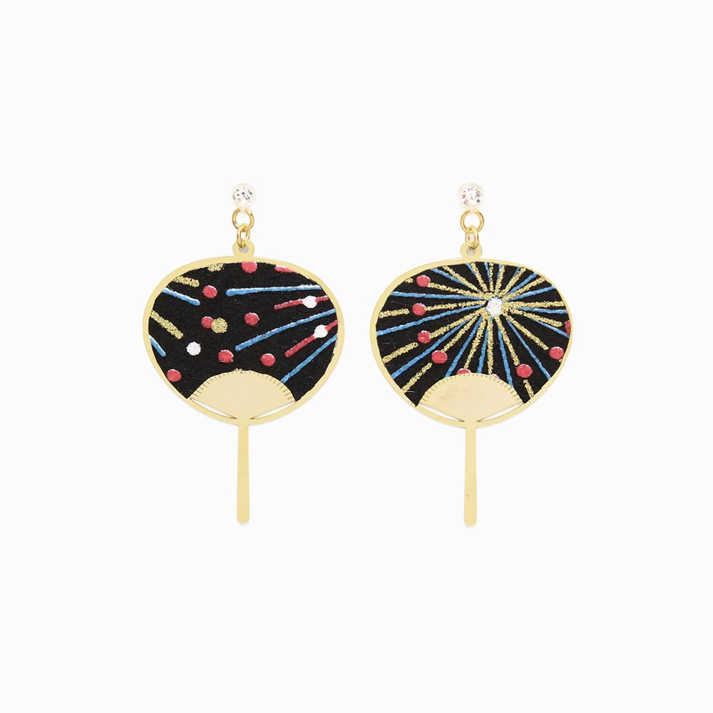 Japanese Paper Fan Invisible Clip On Earrings