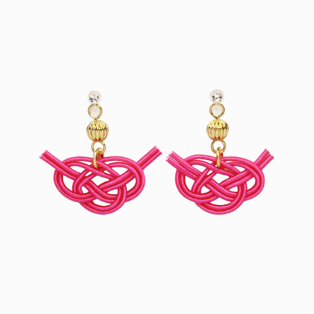 Japan Traditional Cord Decorative Knot Invisible Clip On Earrings