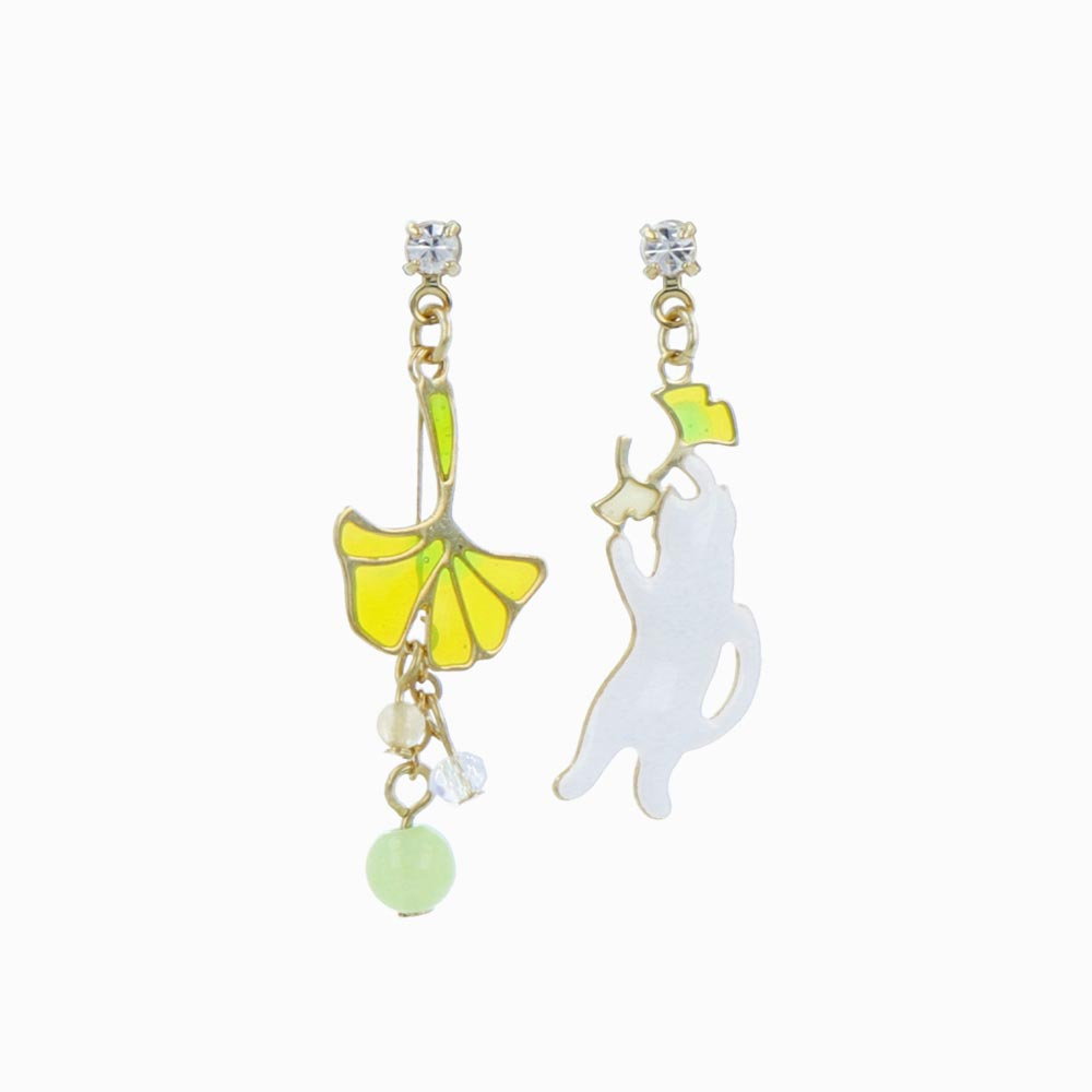 Ginkgo and Cat Earrings