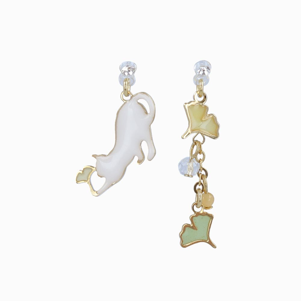 Ginkgo and Cat Invisible Clip On Earrings