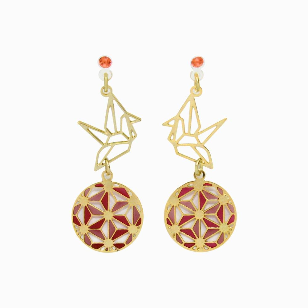 Japanese Motif Openwork Invisible Clip On Earrings - osewaya