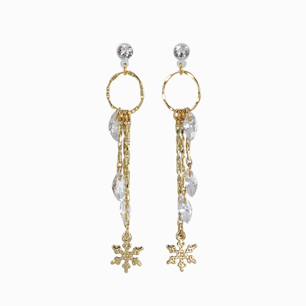 Snow Crystal Drop Chain Invisible Clip On Earrings - osewaya