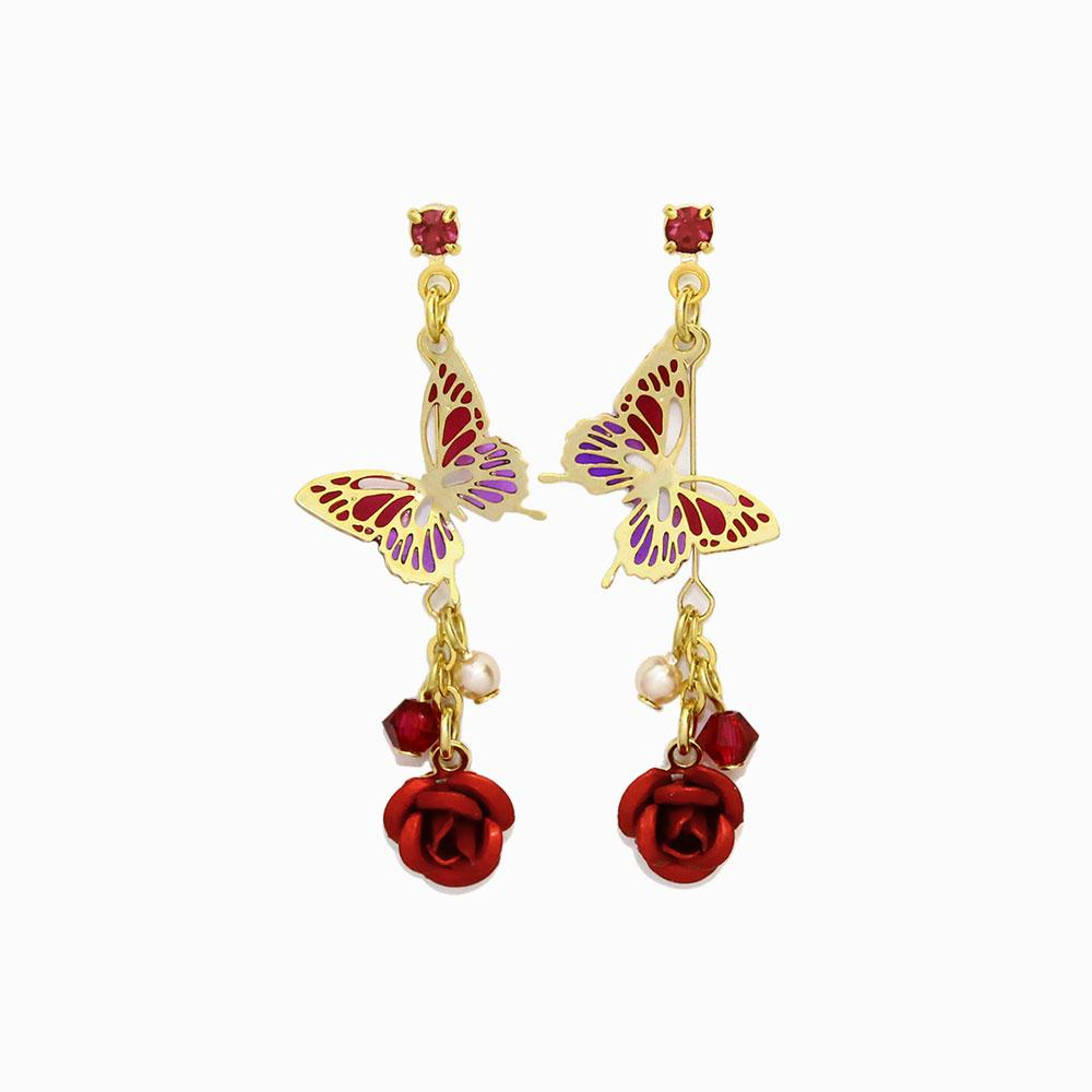 Butterfly and Rose Drop Earrings - osewaya
