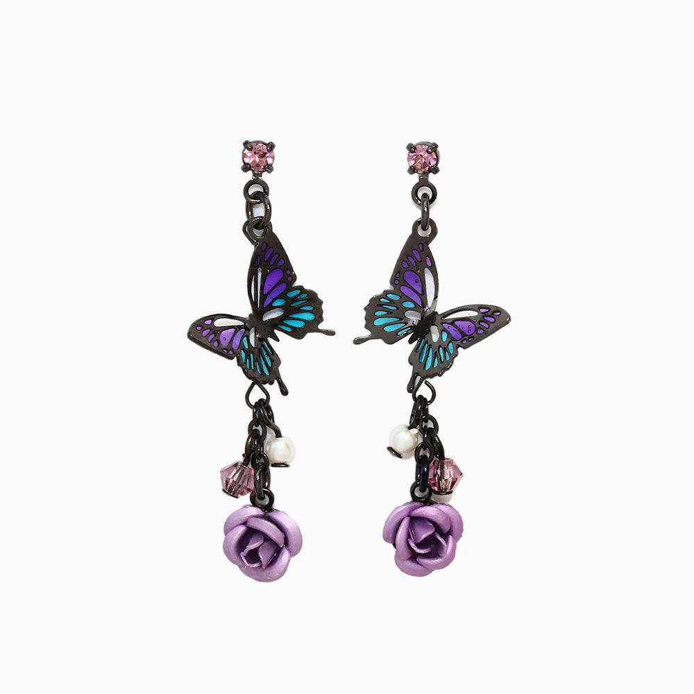 Butterfly and Rose Drop Earrings