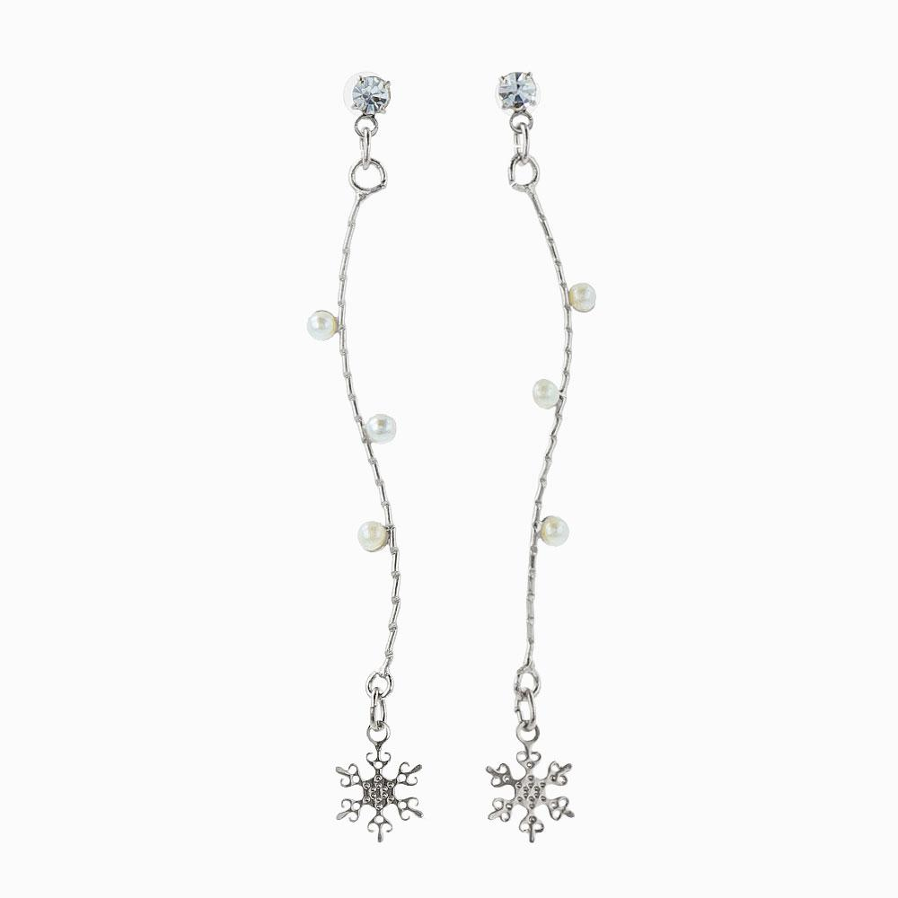 Icicle Branch Snowflake Earrings - osewaya