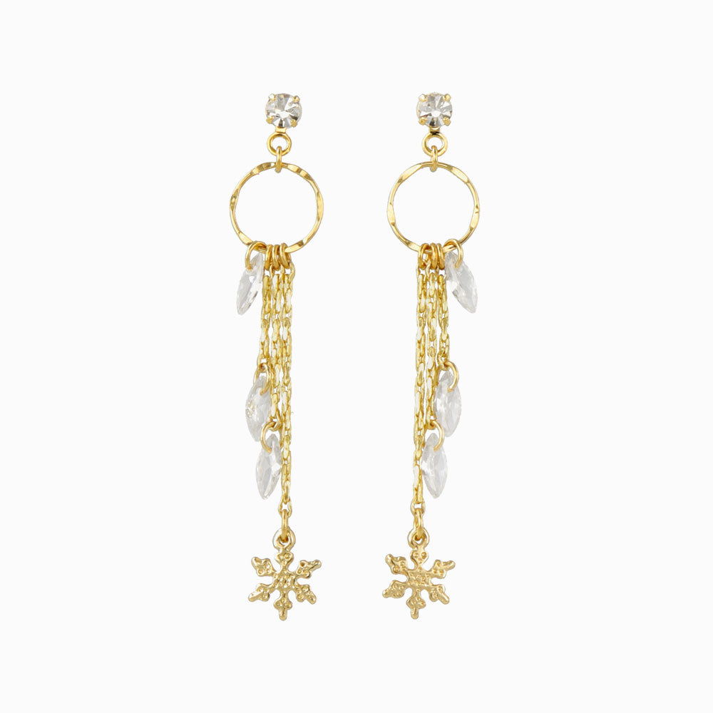 Snow Crystal Drop Chain Earrings