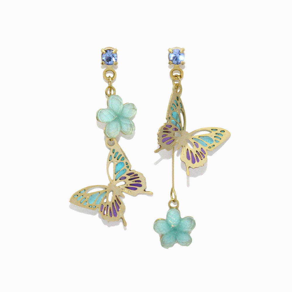 Butterfly Flower Drop Earrings - osewaya