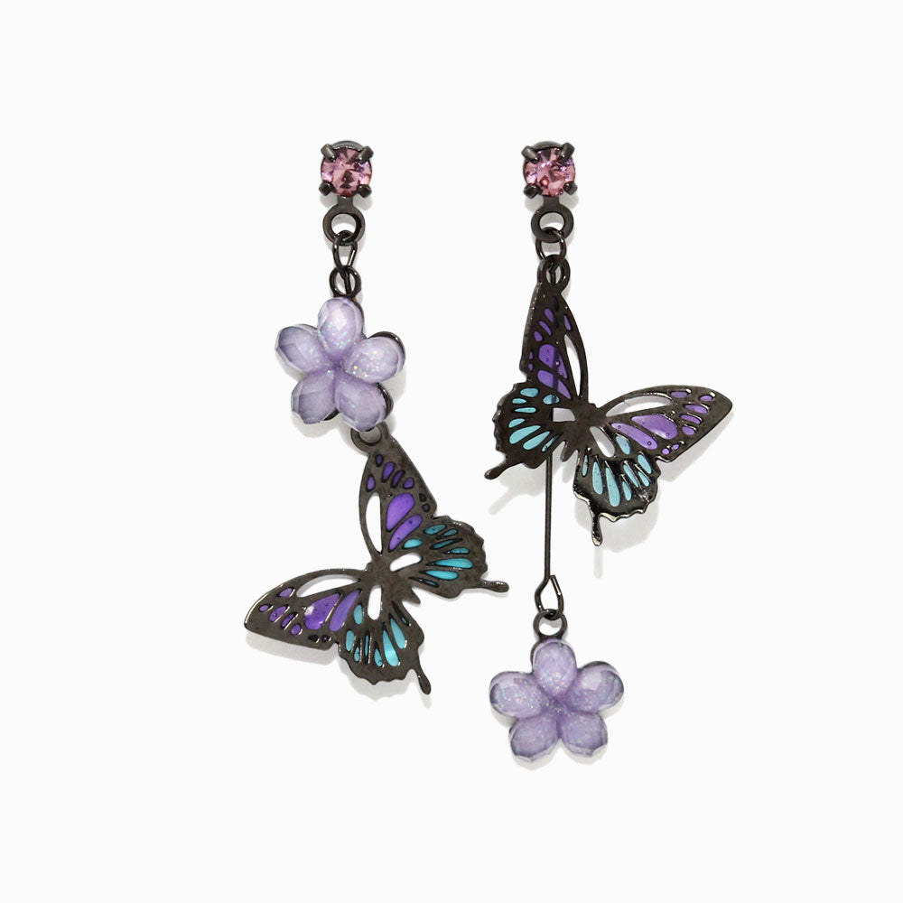 Butterfly Flower Drop Earrings