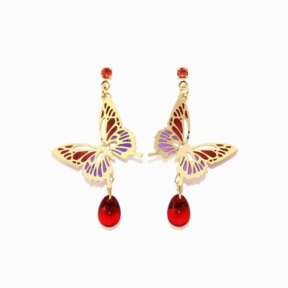Butterfly and Gem Drop Earrings - osewaya