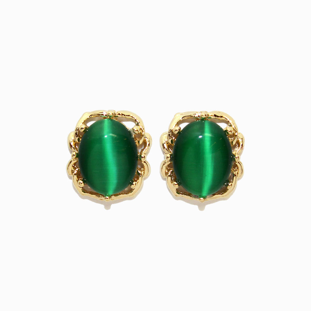 Faux Cat's Eye Stone Cabochon Earrings - osewaya