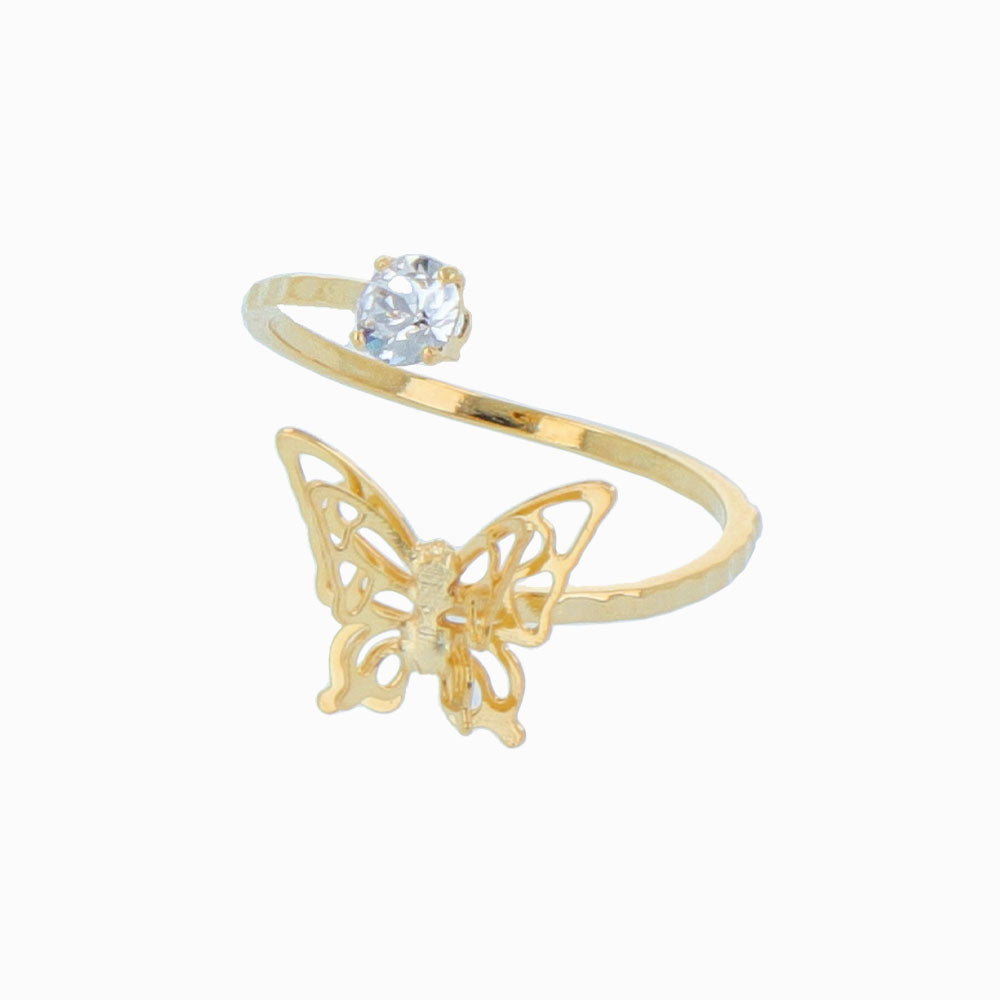 Butterfly Spiral Ring with Single stone - osewaya