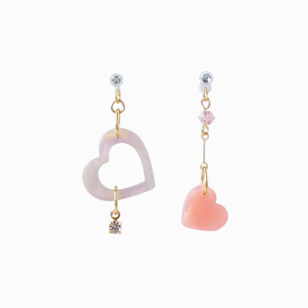 Marble Acetate Heart Drop Non Pierced Earrings
