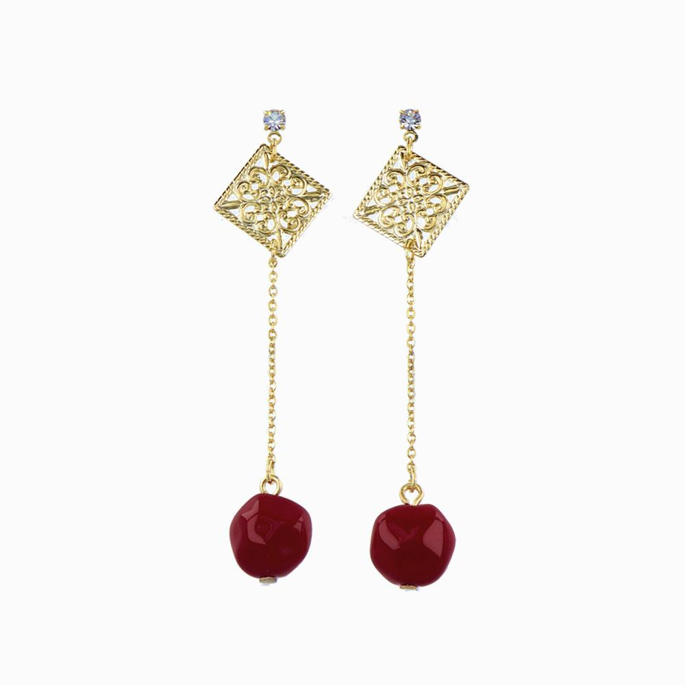 Berry Glass Beads Square Openwork Earrings - osewaya