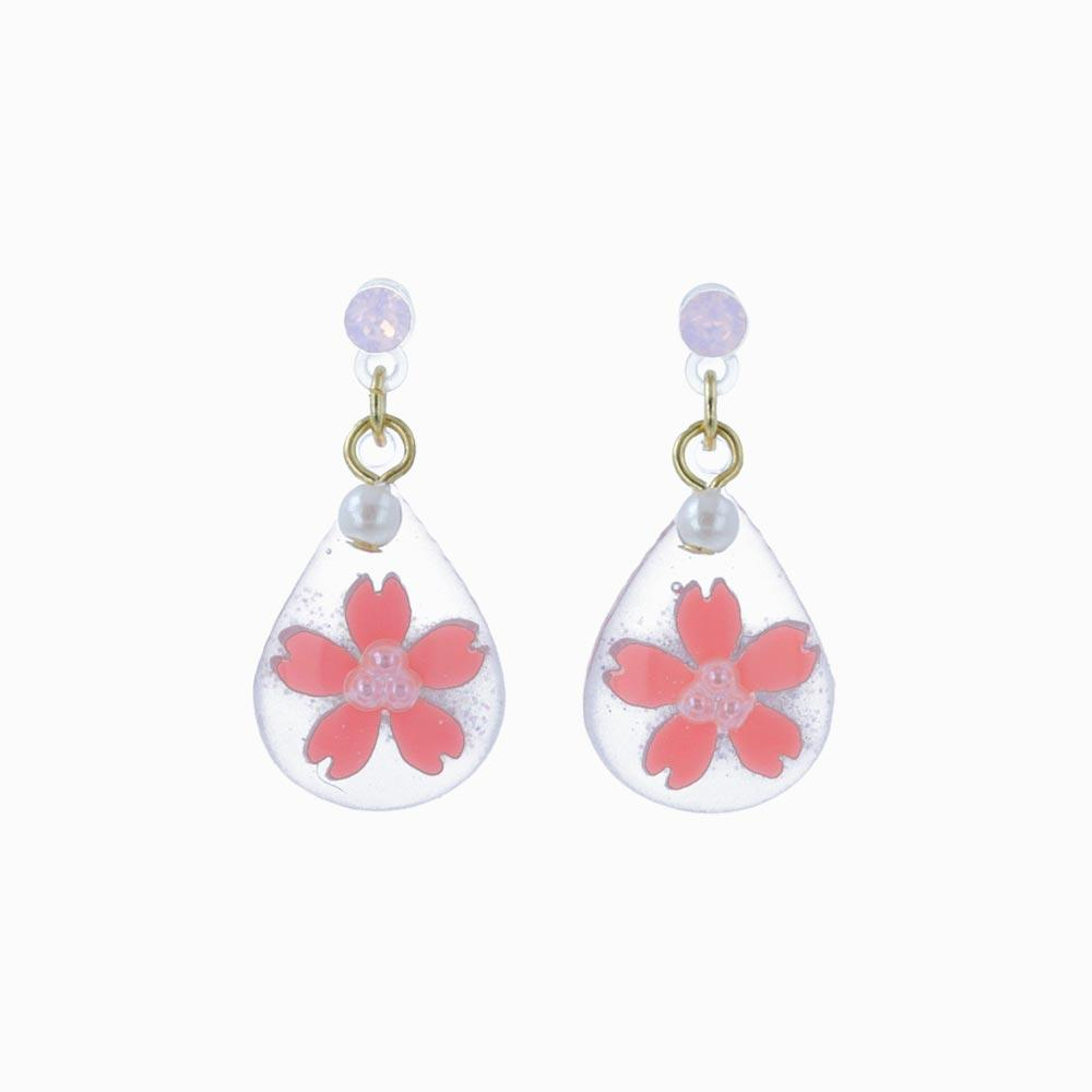 Cherry Blossom Japanese Sakura Teardrop Plastic Post Earrings - osewaya