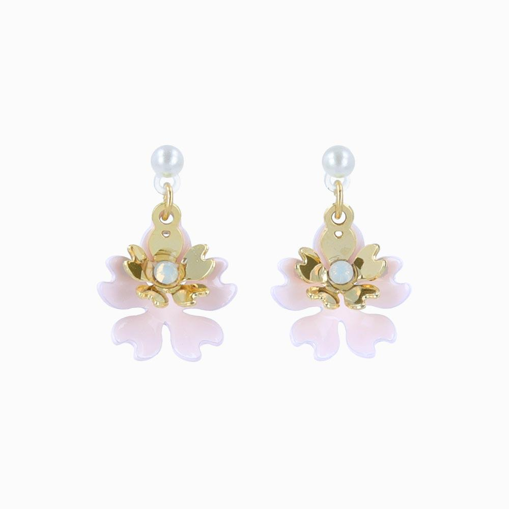 Cherry Blossom Japanese Sakura Drop Plastic Post Earrings - osewaya