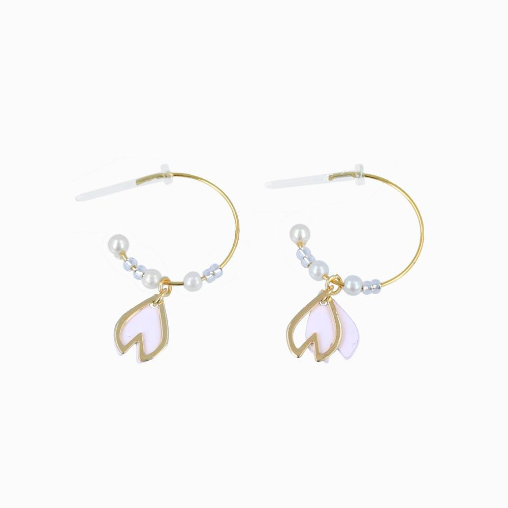 Dangling Sakura Petal C-Shaped Plastic Post Earrings - osewaya