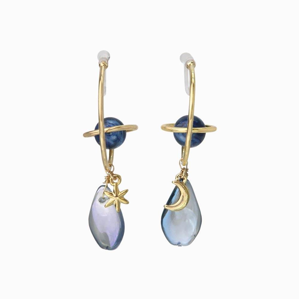 Planet Ornament C-Shaped Invisible Clip On Earrings - osewaya