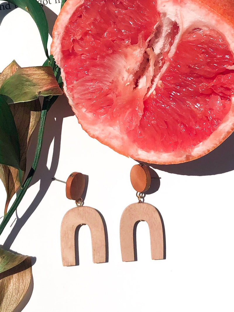 Over The Hill Wooden Earrings