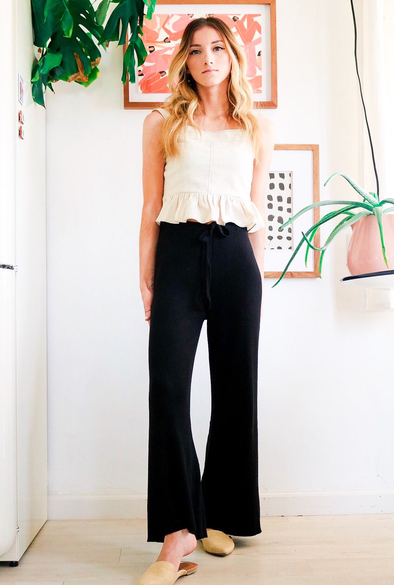 Lacey Black Ribbed Pants