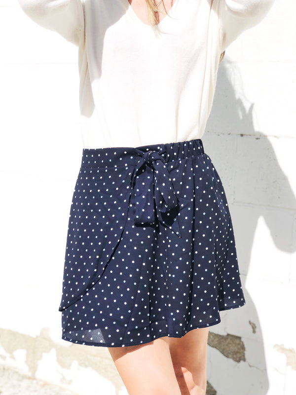 All Of The Dots Navy Skirt