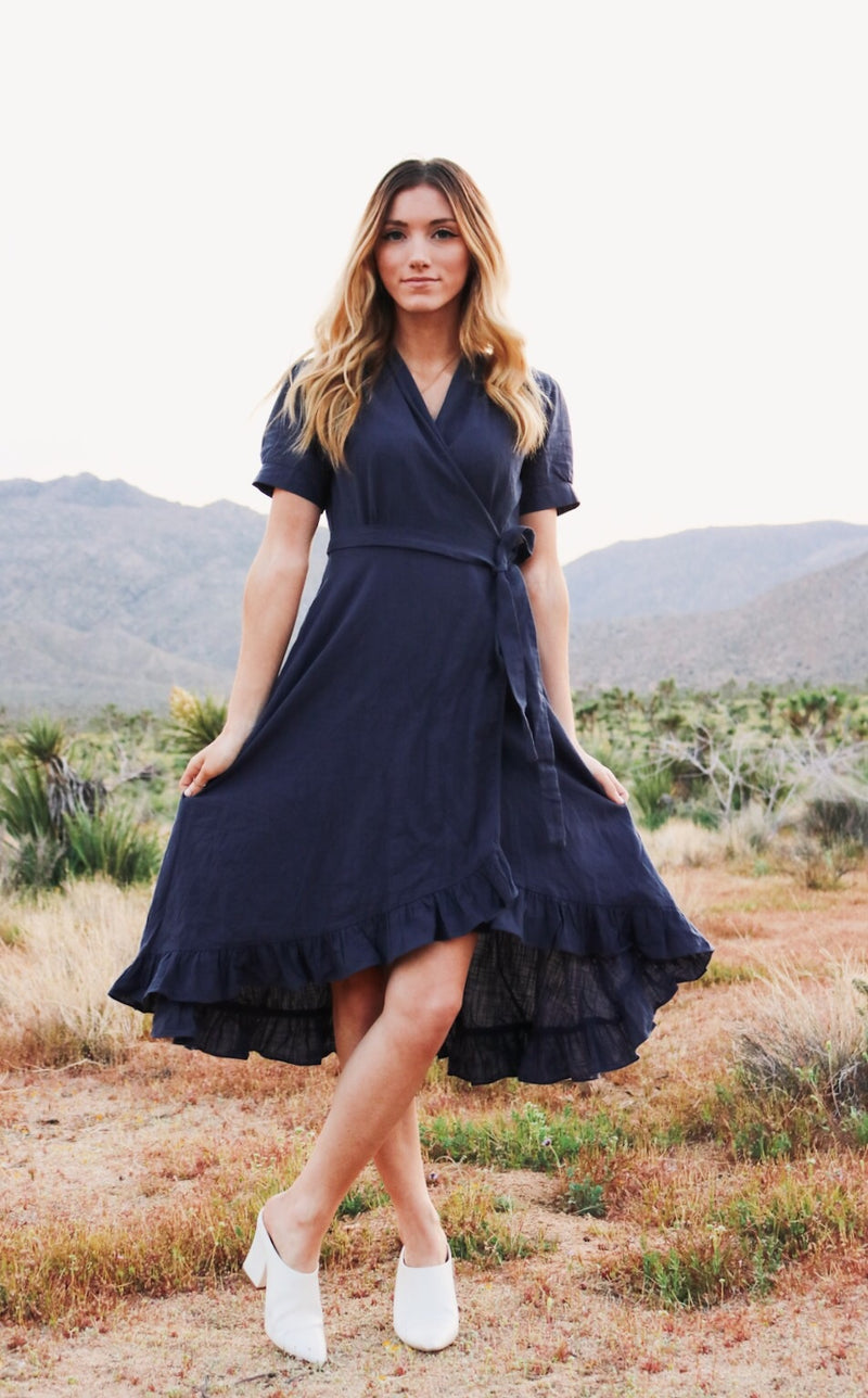 Blue Linens Wrap Dress