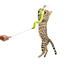 Load image into Gallery viewer, Feather n fabric teaser with cat jumping to play with it