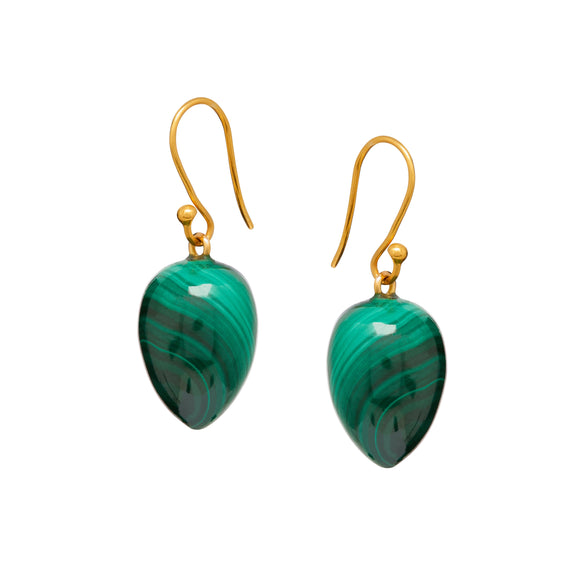 Amara Earrings in Malachite