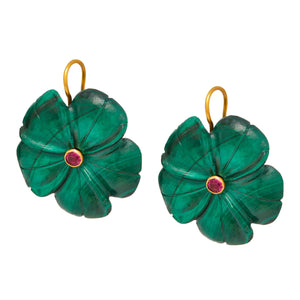 "Lethe ""forget me not"" Earrings in Malachite"