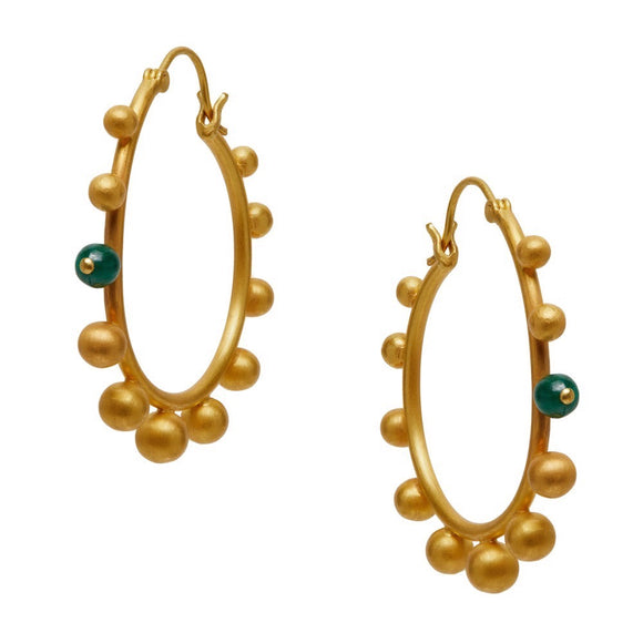Poppy Earrings with Malachite Detail