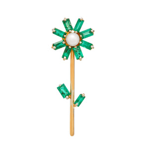 Flora Stud Earring with Emerald and Diamond