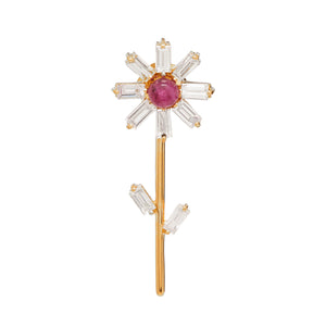 Flora Stud Earring with Diamond and Ruby